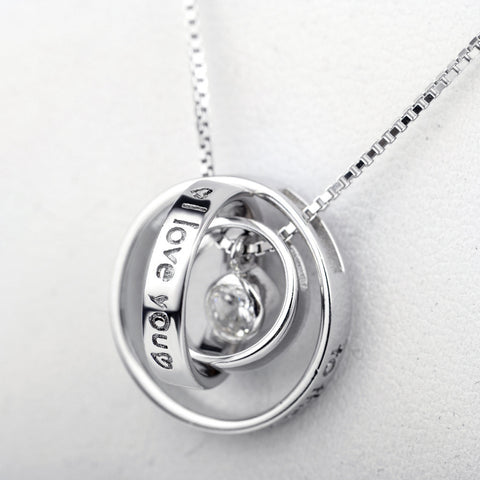 925 Sterling Silver Multi-Twist Rings Letter Engraved Pendant Necklaces