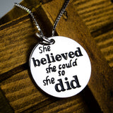 Personalized 925 Sterling Silver Motivational Quote Pendant Necklace