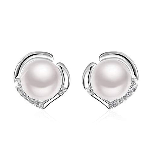 White Freshwater Cultured Pearl Love Heart 925 Sterling Silver Stud Earrings