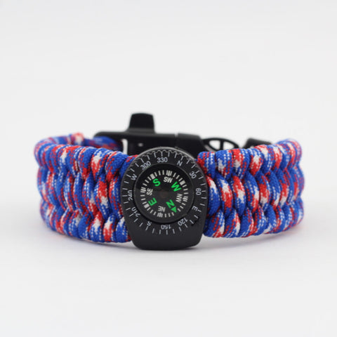 Multifunctional Camping Bangle with Fire Starter and Compass
