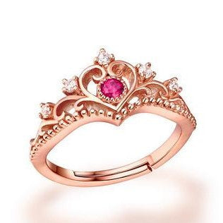 Vintage Queen Crown Rose Golden Ring