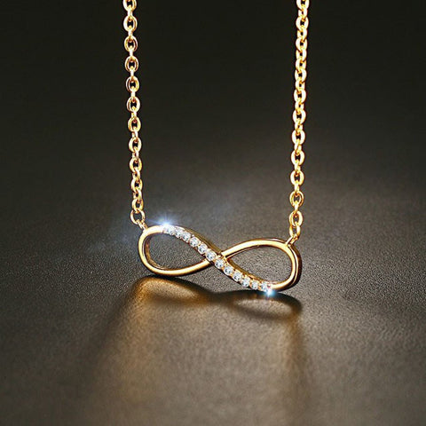 Rose Gold Created Diamond Infinity Love Women Necklace