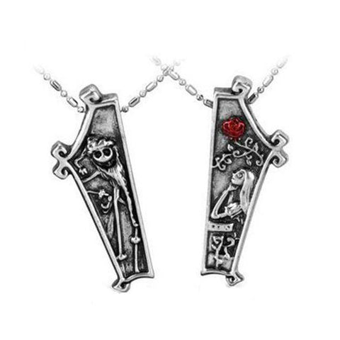 The Nightmare Before Christmas Vintage Jack and Sally Couple Necklaces