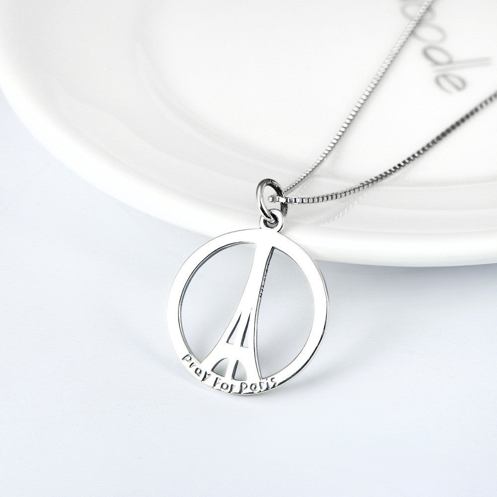 Sterling silver eiffel tower pendant necklace evermarker sterling silver eiffel tower pendant necklace aloadofball Image collections