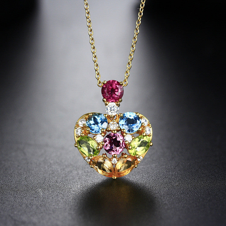 Fashion Heart-shaped Pattern with Multiple-colour Gems Decorated 925 Sterling Silver Necklace E062055001
