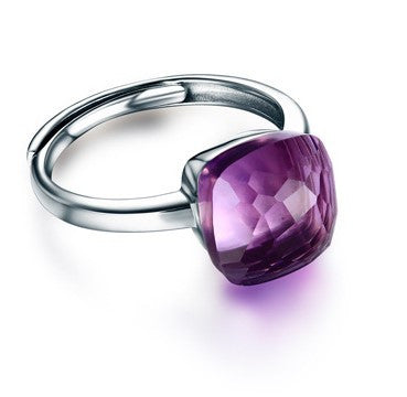 Minimalism Single Quadrate Crystal Amethyst 925 Sterling Silver Ring