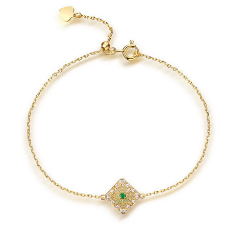 Square Floral Gold Plated Charm Bracelet