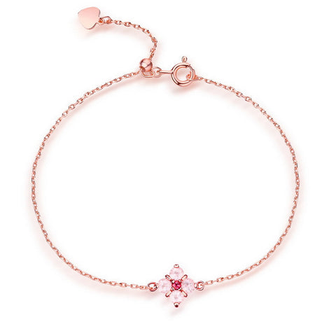 Flower Shape Rose Quartz Topaz Charm Bracelet