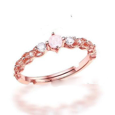 925 Sterling Silver Pink Diamond Ring