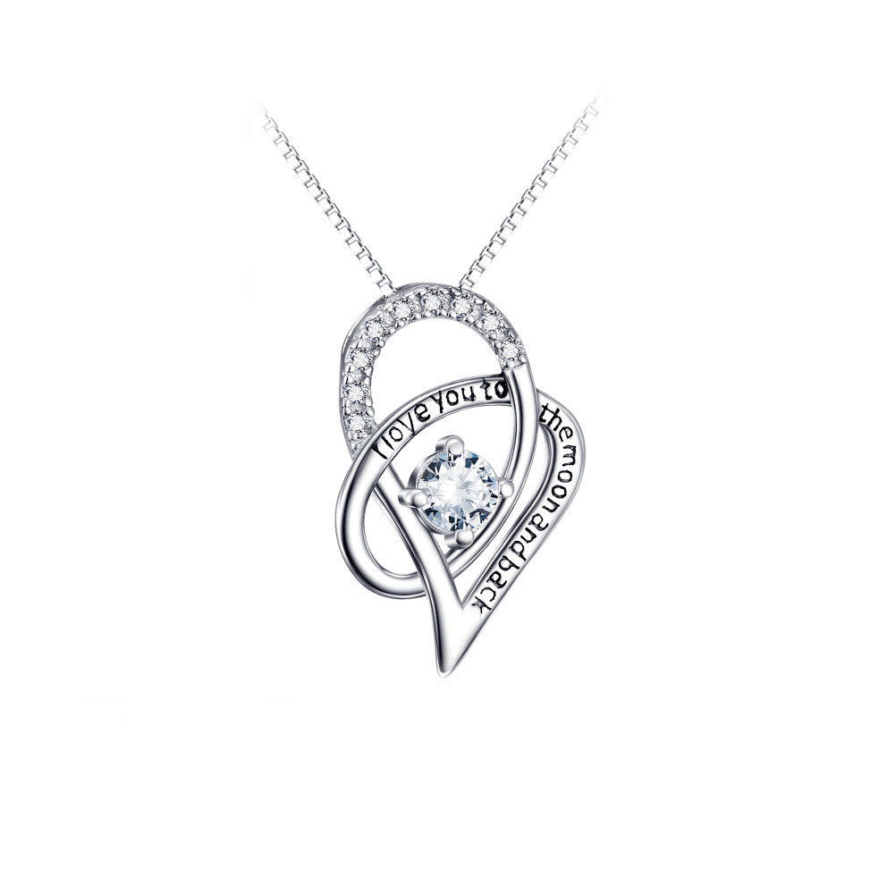Interlocking Hearts Pendant Necklace In Sterling Silver