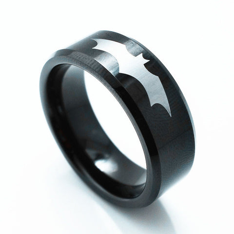 Tungsten Batman Logo Black Men's Ring 8mm