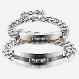Personalized |You Are My Only Love| Titanium Steel CZ Inlaid Couple Bracelets