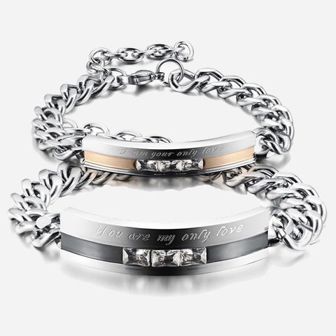 |You Are My Only Love| Titanium Steel CZ Inlaid Couple Bracelets