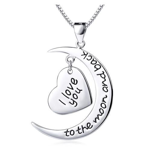 "925 Sterling Silver ""I Love You to the Moon and Back"" Heart & Moon Pendant Necklace"