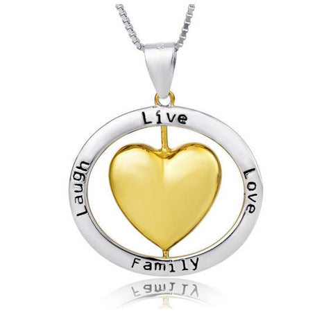 "925 Sterling Silver Heart Shaped ""live love laugh family"" Stamped Pendant Necklace"