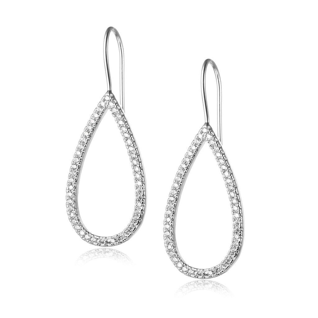 Silver Colored Waterdrop Shape Drop Earring