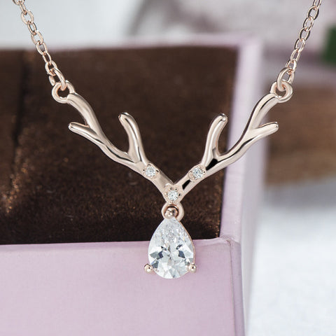 Elk Deer Antler Zircon Decorated 925 Sterling Silver Pendent Necklace