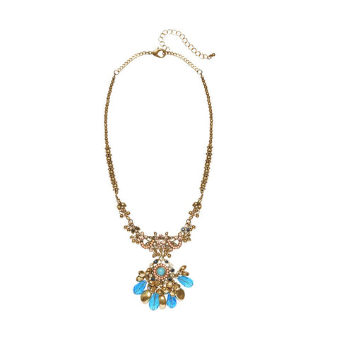 Retro Gold Flower Pendant Statement Necklaces