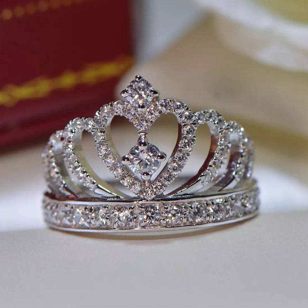925 Sterling Silver Princess Crown Zircon Inlay Engagement