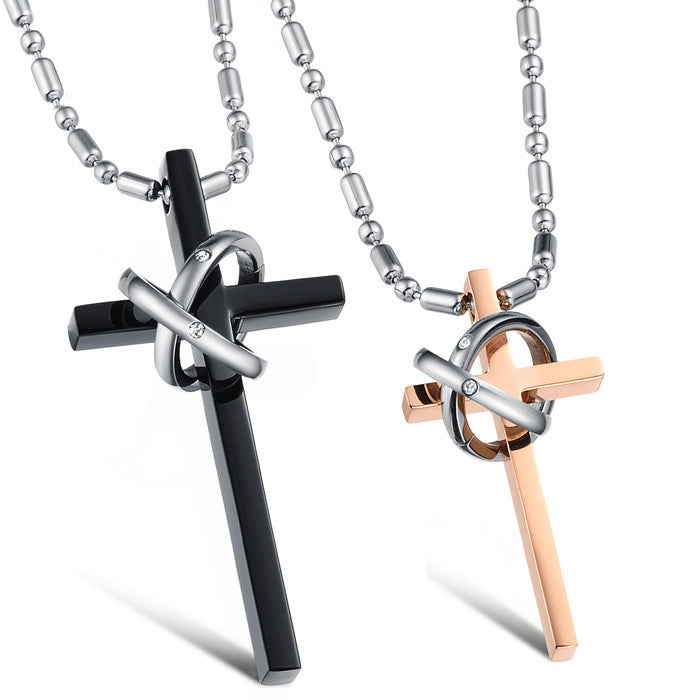 Be My Companion | Zircon Inlaid Cross Titanium Couple Necklaces