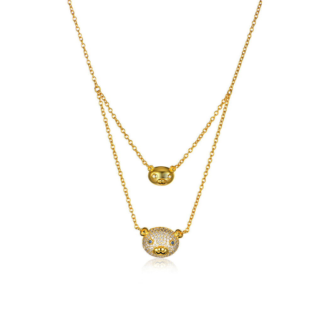 925 Sterling Silver 18K Gold Plated Double Layers Teddy Bear Pendant Necklace