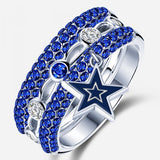 Dallas Cowboy Sapphire Zircon Diamond Ring Set 3 Pieces