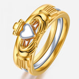 Gold-plated 925 Sterling Silver Claddagh Ring Set