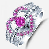 925 Sterling Silver Heart-shaped Pink Diamond Engagement Ring Set