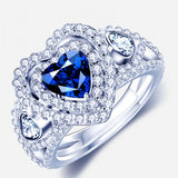 Heart-shaped Blue Sapphire 925 Sterling Silver Rings