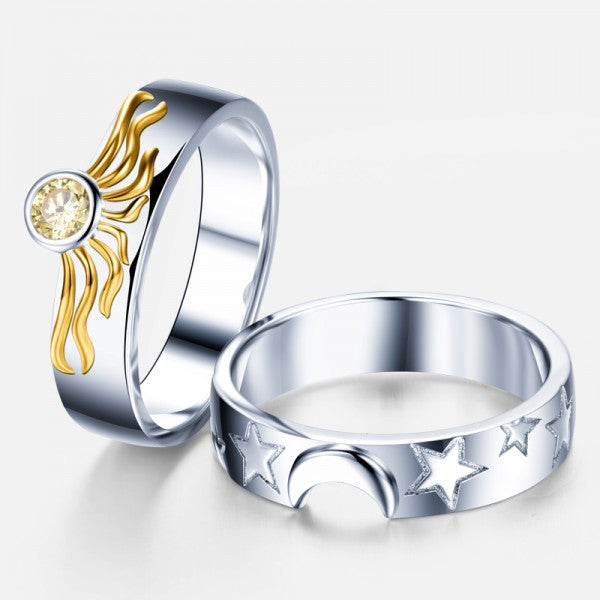 Matching Sun And Moon 925 Sterling Silver Engagement Ring For