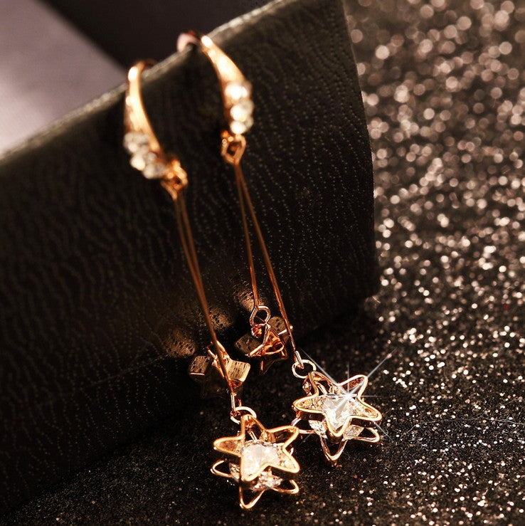 925 Sterling Silver Crystal Star Tassel Drop Earring