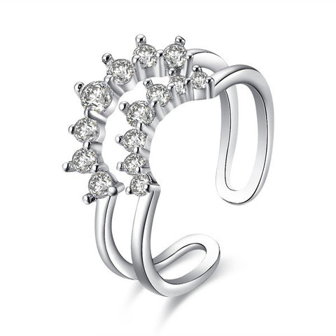 Arc CZ Inlay Bilayer Cocktail Midi Ring