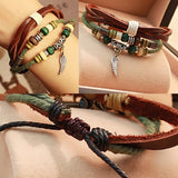Couple Vintage Bracelets Daily Wing Leather Brown