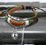 Key And Lock Leather Couple Bracelets