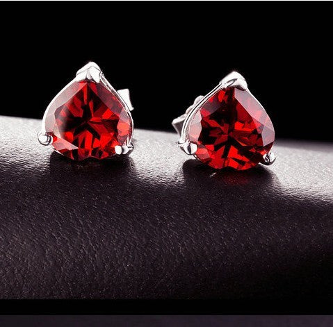 925 Sterling Silver Garnet Women's Earrings