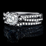 Women's Engagement Rings Wedding CZ 925 Sterling Silver Silver