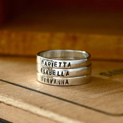 Sterling Silver Hand Stamped Unisex Ring Set (Three Pieces)