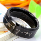 Personalized Heartbeat Tungsten Unisex Ring Band