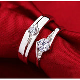 Romantic 925 Sterling Silver Zircon Diamond Lover Couple Rings