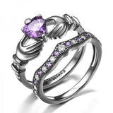 925 Sterling Silver Purple Diamond Claddagh Engagement Ring