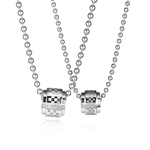 Grid Pattern Tube Titanium Steel Couple Necklaces