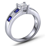Blue And White Sapphire Engagement Ring