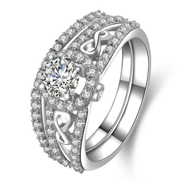 Newly Design Bridal Set 925 Sterling Silver Ring With SONA Diamond And CZ