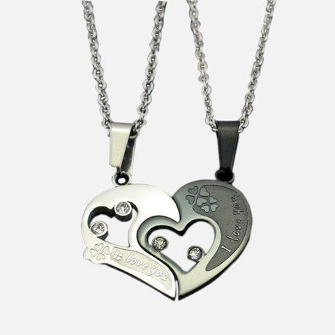 Heart And Clover Shape Matching Couple Necklaces