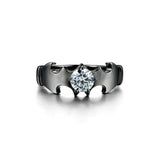 Batman Round Cut CZ Black Bat Shaped 925 Sterling Silver Promise Ring