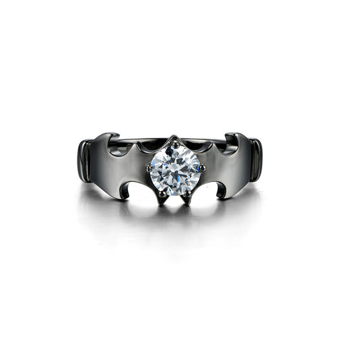 Round Cut CZ Black Bat Shaped 925 Sterling Silver Promise Ring