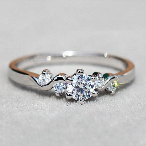 Women's Pretty CZ Inlaid Alloy Ring