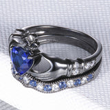 925 Sterling Silver Sapphire Claddagh Engagement Ring Set
