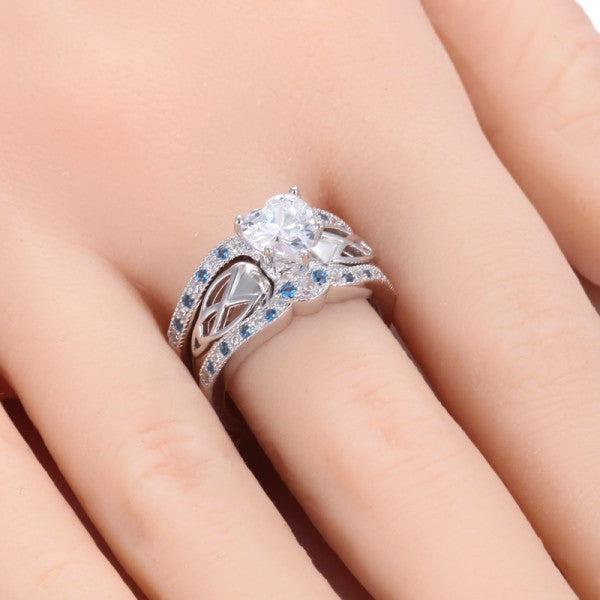 Heart Shape Blue Diamond Engagement Ring Evermarker