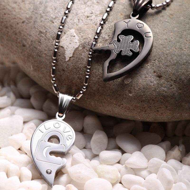 Evermarker Four Leaf Clover Key And Lock Couple Necklaces